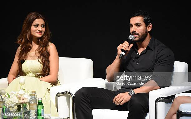 Ankilaa Srivastaiv and John Abraham on stage during the 'Welcome Back' In Conversation on day three of the 11th Annual Dubai International Film...