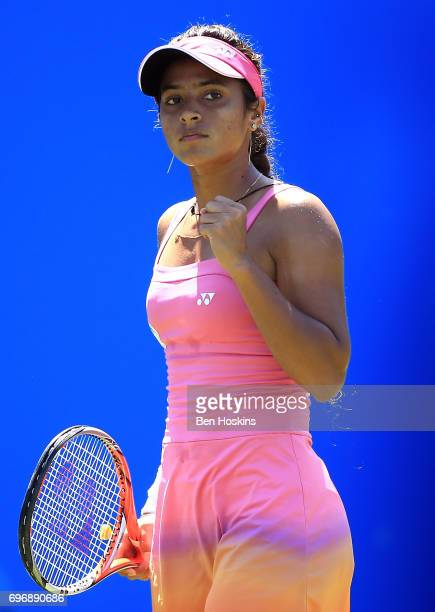 Ankita Raina of India hits a backhand during the qualifying match against Katy Dunne of Great Britain at Edgbaston Priory Club on June 17 2017 in...