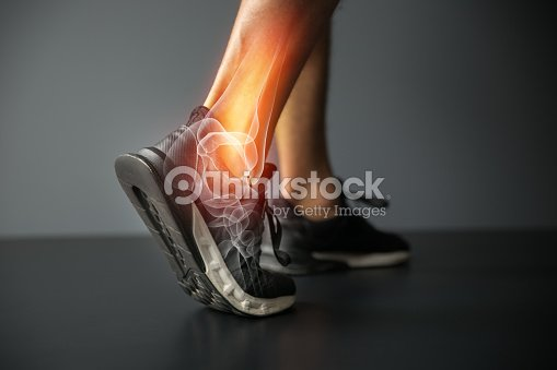 Ankle injury and Joint pain-Sports injuries : Stock Photo