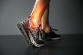 Joint pain, sports injuries, At gym, damaged section, Sportsman, ankle sprain, sports accidents