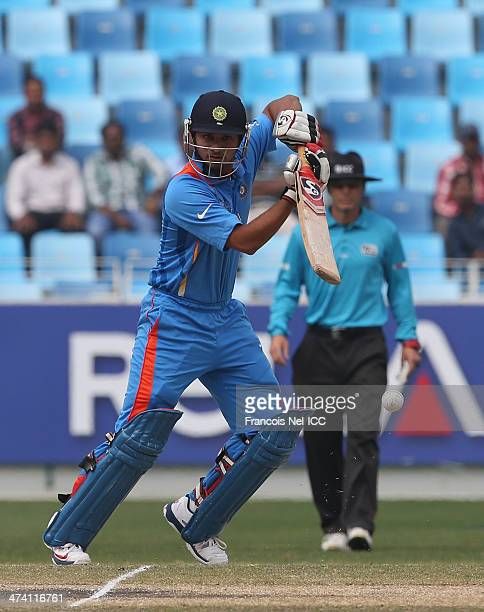 Ankush Bains of India bats during the ICC U19 Cricket World Cup 2014 Quarter Final match between England and India at the Dubai Sports City Cricket...