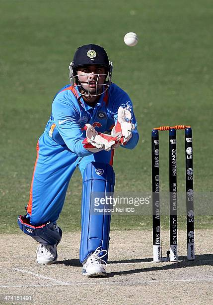 Ankush Bains of India fields the ball during the ICC U19 Cricket World Cup 2014 Quarter Final match between England and India at the Dubai Sports...
