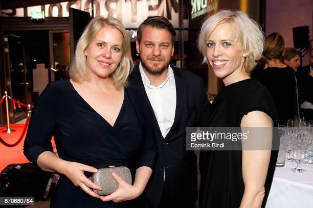 Anmke Greifeneder Marvin Kren and Katja Eichinger during the 7th German Director Award Metropolis at HFF Munich on November 5 2017 in Munich Germany