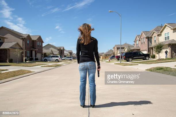 Ann Asenbauer at her home on the 26th February 2013 in Katy Texas Miss Asenbauer decided to buy a gun for self protection after an incident when the...