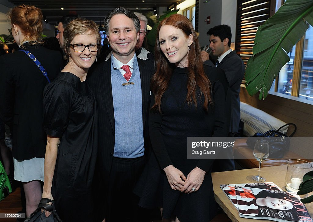 Ann Binstock, Jason Binn, CEO/Founder of DuJour Media and actress Julianne Moore attend DuJour Magazine Summer Issue celebrating the Julianne Moore cover on June 10, 2013 at Marlin Bar at Tommy Bahama in New York City.