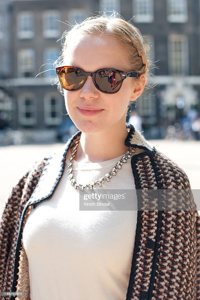 Ann Bjerke fashion writer and student wearing Ray Ban sunglasses, Zara necklace, Whistles top, Missoni jacket on day 5 of London Fashion Week Spring/Summer 2013, on September 18, 2012 in London, England.