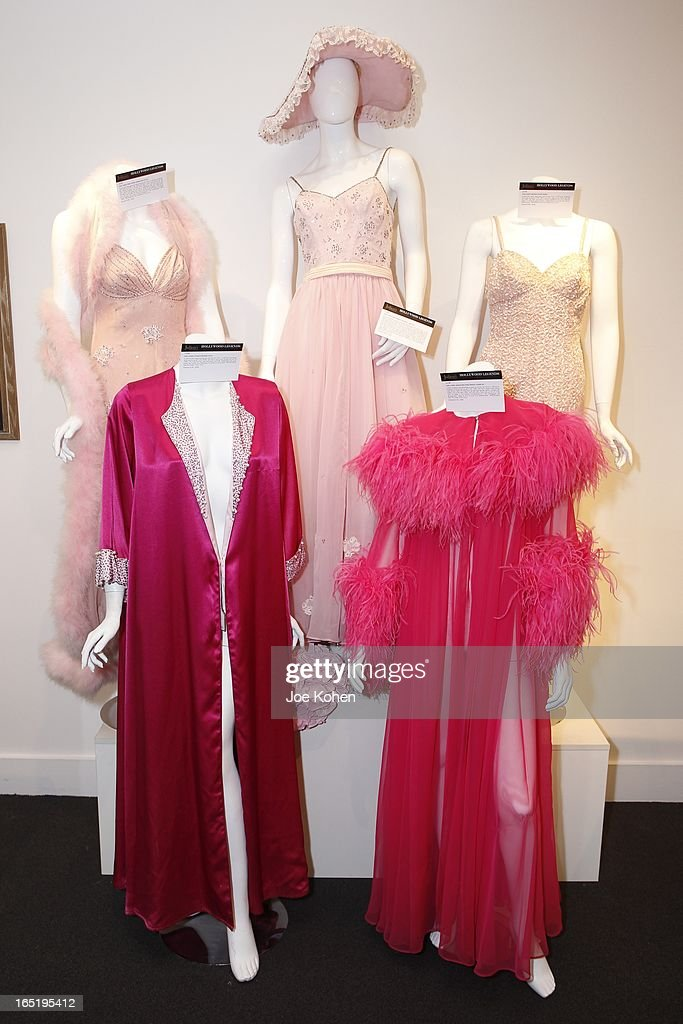 Ann Corio dresses seen on display at Julien's Auctions Gallery on April 1, 2013 in Beverly Hills, California.