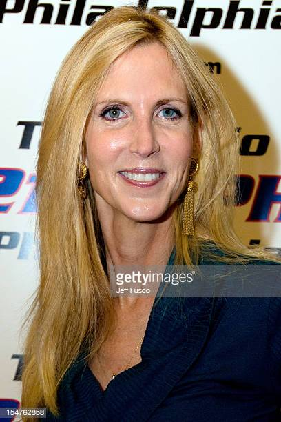 Ann Coulter poses during the 'Talk Radio 1210 Presents An Evening With Ann Coulter' event at the National Constitution Center October 25 2012 in...