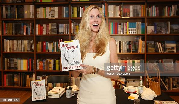 Ann Coulter signs copies of her book 'Adios America' at Books and Books on March 10 2016 in Coral Gables Florida