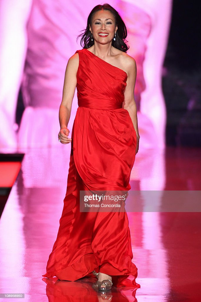 Ann Curry wearing Carmen Marc Valvo at the The Heart Truth's Red Dress Collection fashion show during Mercedes-Benz Fashion Week Fall 2011 at Lincoln Center on February 9, 2011 in New York City.