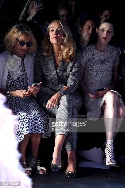 Ann DexterJones Jerry Hall and Coco Rocha attend the Marchesa fashion show during New York Fashion Week The Shows at The Dock Skylight at Moynihan...