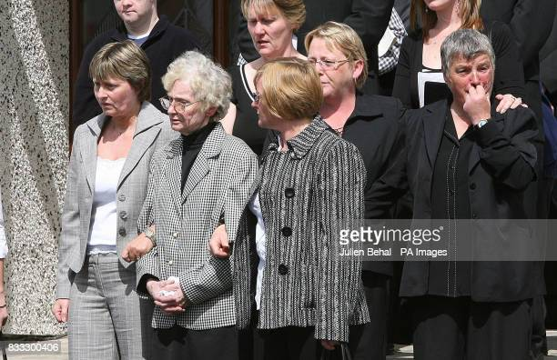 Ann Flower and Betty Starret are joined by friends and family at the funeral of Northern Irish soldier Lance Corporal Timothy Darren Flowers killed...