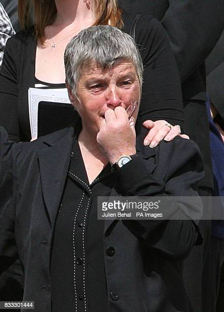 Ann Flowers attends the funeral of her son Northern Irish soldier Lance Corporal Timothy Darren Flowers who was killed in Basra Southern Iraq at...