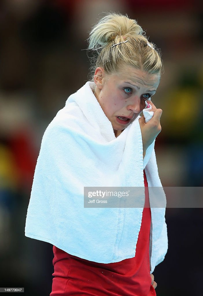Ann Grete Norgaard #23 of Denmark sheds a tear as she walks off the court following her teams loss to Norway during the Women's Handball Preliminaries Group A match between Norway and Denmark on Day 7 of the London 2012 Olympic Games at Copper Box on August 3, 2012 in London, England.