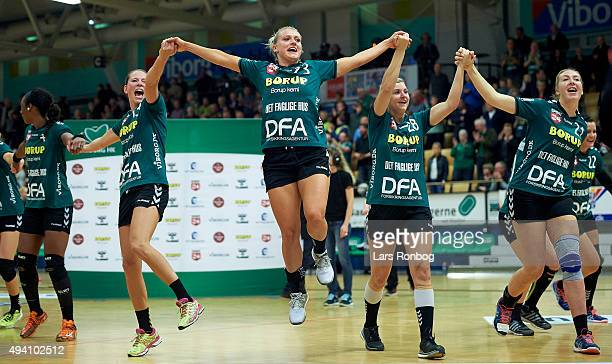 Ann Grete Norgaard of Viborg HK celebrates after the Danish Womens Handball Boxer Dameligaen match between Viborg HK and Randers HK at Viborg...