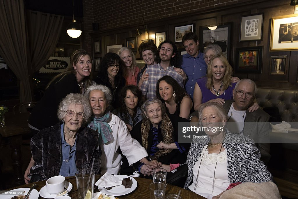 Ann Guthrie, Nora Guthrie, Sarah Lee Guthrie, Mary Jo Edgmon, Anna Canoni and Mary Boyle and members of the Guthrie family pose for photos during an event for the Woody Guthrie Center on April 26, 2013 in Tulsa, Oklahoma.