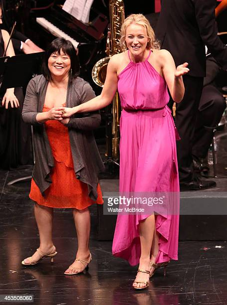 Ann Harada and Betsy Wolfe performing at the Transport Group Theatre Company's production of 'The Music Man' at The Signature Theatre Company's...