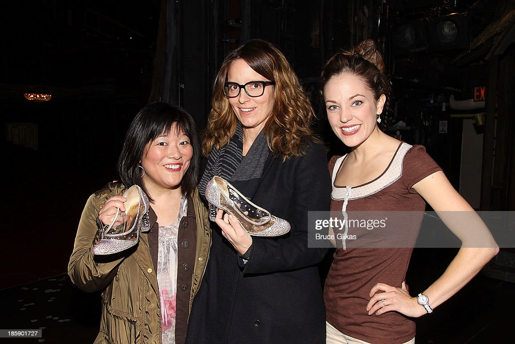 Ann Harada, Tina Fey and Laura Osnes pose backstage at 'Cinderella' on Broadway at The Broadway Theater on October 25, 2013 in New York City.