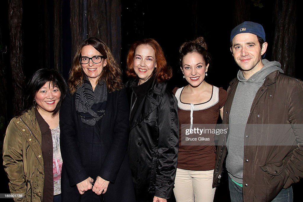 Ann Harada, Tina Fey, Harriet Harris, Laura Osnes and Santino Fontana pose backstage at 'Cinderella' on Broadway at The Broadway Theater on October 25, 2013 in New York City.