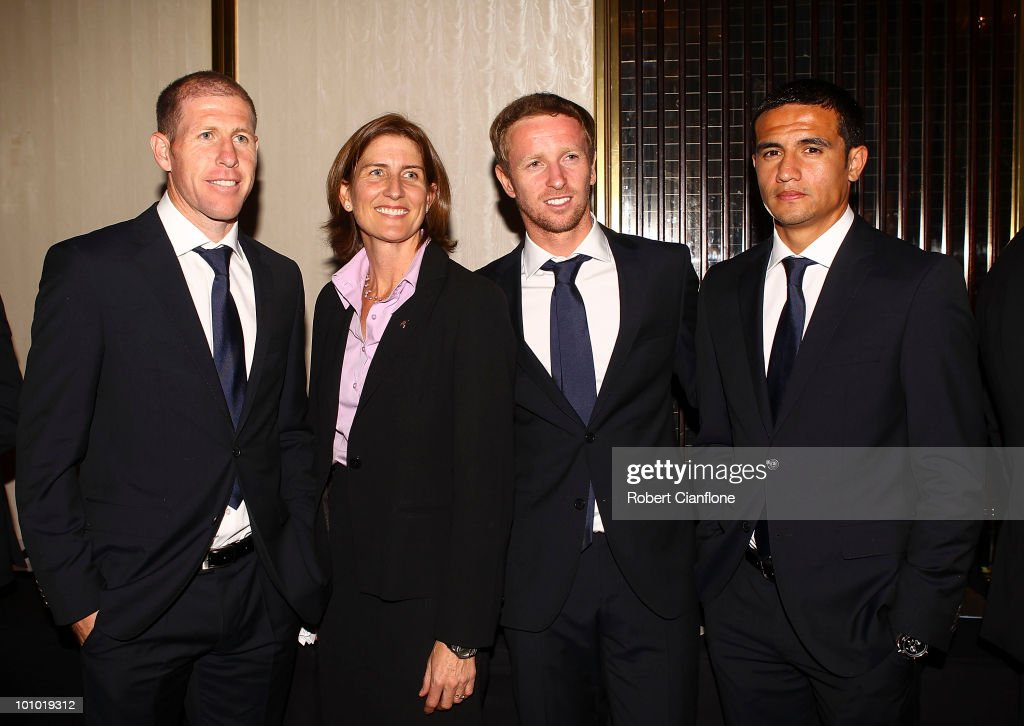 Ann Harrap (2L), Australian High Commissioner to South Africa, poses with Socceroos Scott Chipperfield, David Carney and Tim Cahill during an Australian Socceroos welcome function at the Sandton Sun Hotel on May 27, 2010 in Sandton, South Africa.