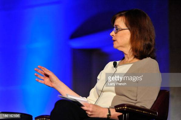 Ann Hornaday moderates a panel discussion at the 2013 America Abroad Media Awards Dinner at Andrew W Mellon Auditorium on October 28 2013 in...