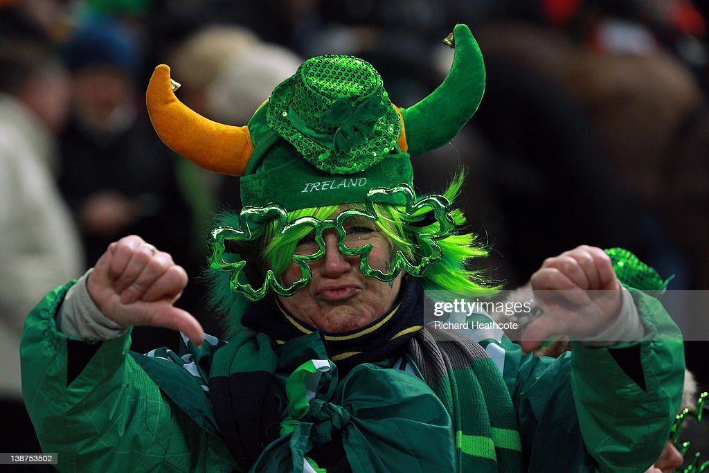 Ann Irish fan shows her displeasure as the match is called off just before kick off due to a frozen pitch during the RBS 6 Nations match between France and Ireland at Stade de France on February 11, 2012 in Paris, France.
