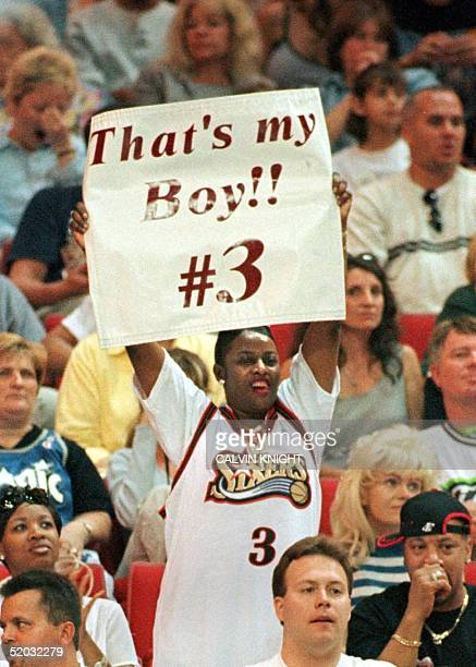 ORLANDO FL MAY 9 Ann Iverson holds a sign up on mothers day for her son Philadelphia 76ers guard Allen Iverson who scored 30 points during game one...