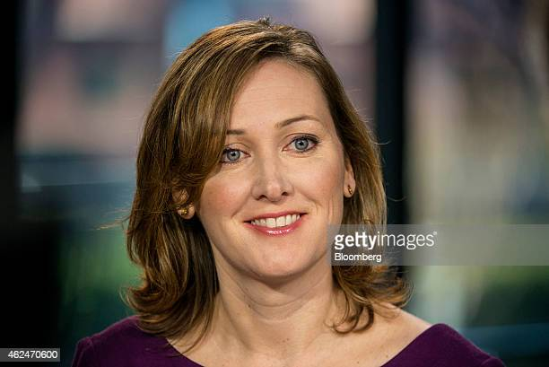 Ann Johnson chief executive officer at Interana Inc smiles during a Bloomberg West television interview in San Francisco California US on Wednesday...