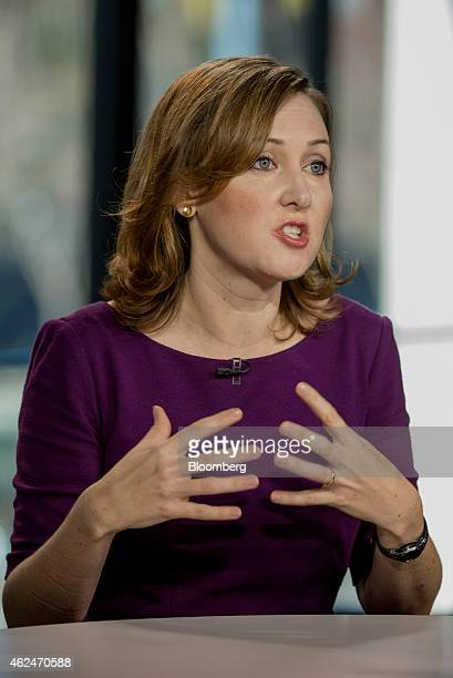 Ann Johnson chief executive officer at Interana Inc speaks during a Bloomberg West television interview in San Francisco California US on Wednesday...