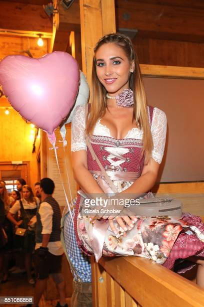 Ann Kathrin Broemmel fiance of Mario Goetze at the 'Madlwiesn' event during the Oktoberfest at Theresienwiese on September 21 2017 in Munich Germany