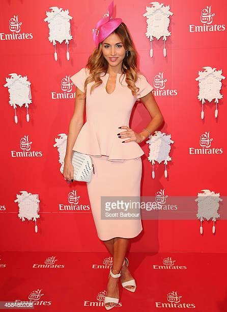 Ann Kathrin Brommel girlfriend of German footballer Mario Gotze attends the Emirates Marquee on Oaks Day at Flemington Racecourse on November 6 2014...