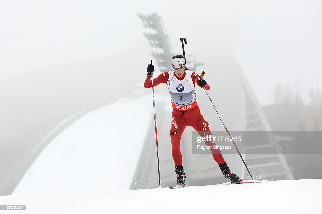Ann Kristin Aafedt Flatland of Norway competes during the IBU Biathlon World Cup Women's 10 km pursuit race on March 22, 2014 in Oslo, Norway.