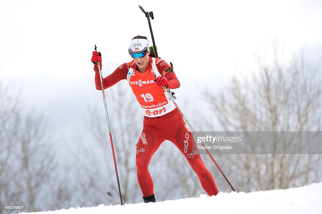 Ann Kristin Aafedt Flatland of Norway competes during the IBU Biathlon World Cup Women's 12.5 kilometer Mass Start race on March 23, 2014 in Oslo, Norway.