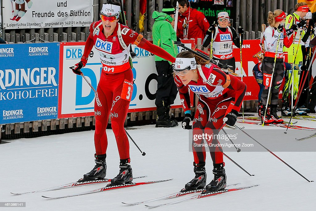 Ann Kristin Aafedt Flatland, Synnoeve Solemdal of Norway takes 3rd place during the IBU Biathlon World Cup Women's Relay on January 08, 2014 in Ruhpolding, Germany.