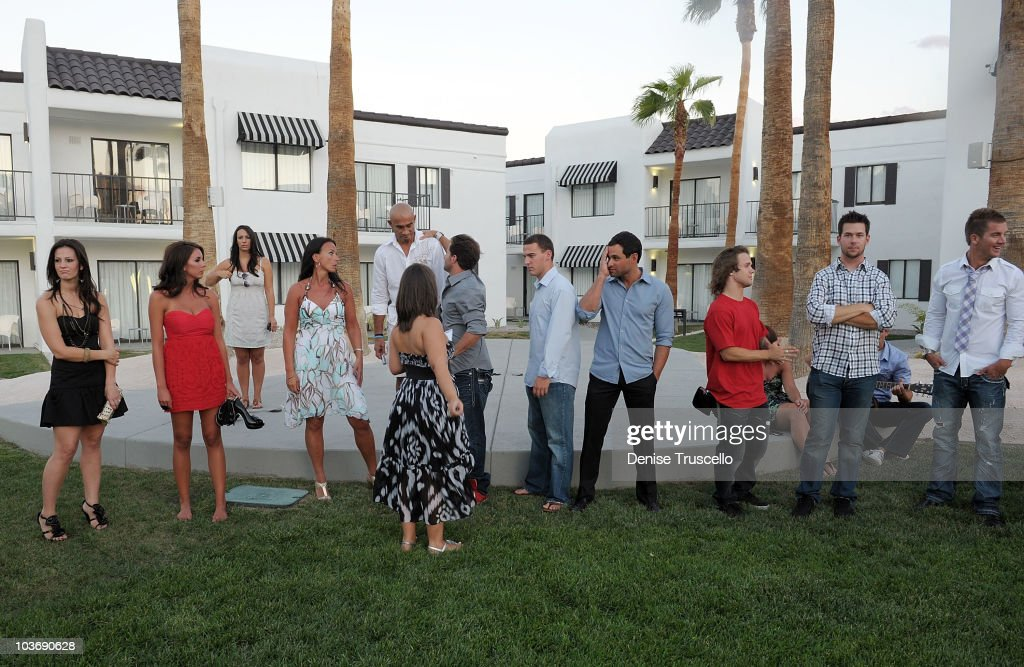 Ann Lueders Jesse Csincsak and his best man Joe Falbo Jason Mesnick Louie Vito attend the wedding rehearsal at RUMOR Las Vegas on August 27 2010 in...