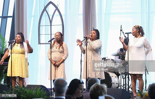 DeborahAnnRegina and Alfreda McCrary perform during Easter Brunch With The McCrary Sisters at Country Music Hall of Fame and Museum on March 27 2016...