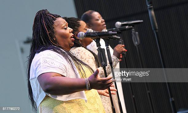 Deborah McCrary performs during Easter Brunch With The McCrary Sisters at Country Music Hall of Fame and Museum on March 27 2016 in Nashville...