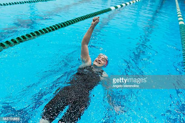 S Ann McGovern celebrates after finishing the age 6569 division 500Y Freestyle competition on July 25 2013 at The National Senior Games McGovern...