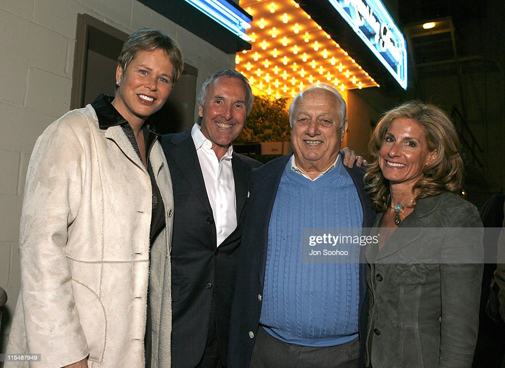 Ann Meyers Drysdale with Los Angeles Dodgers owner Frank McCourt Hall of Fame Manager Tommy Lasorda and Dodgers Chairman Jamie McCourt prior to the...
