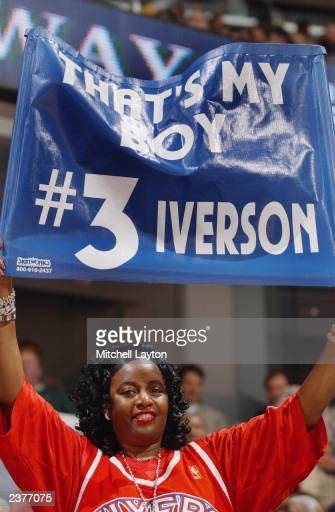 Ann mother of Philadelphia 76ers guard Allen Iverson holding up a sign from the sidelines during the NBA game against the Washington Wizards at the...