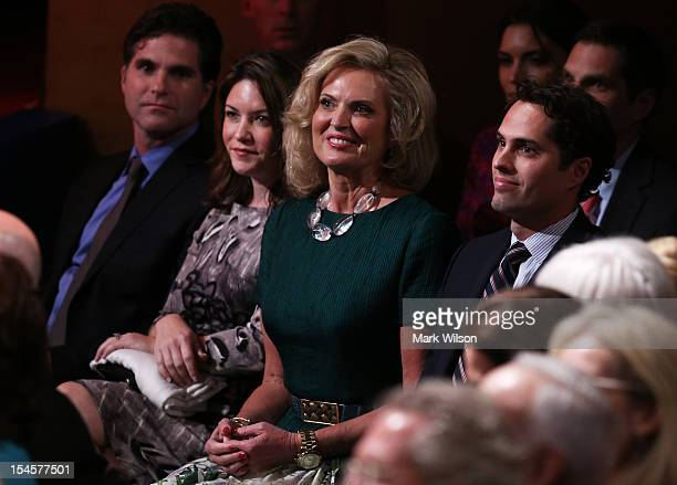 Ann Romney attends the debate between US President Barack Obama and Republican presidential candidate Mitt Romney at the Keith C and Elaine Johnson...