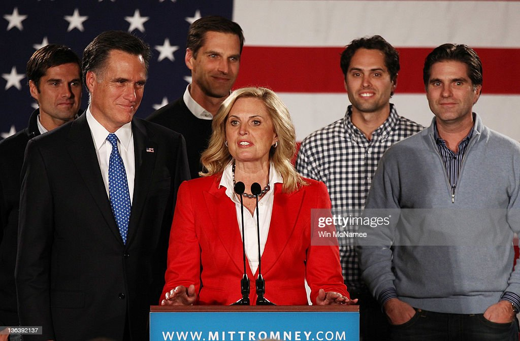 <a gi-track='captionPersonalityLinkClicked' href=/galleries/search?phrase=Ann+Romney&family=editorial&specificpeople=868004 ng-click='$event.stopPropagation()'>Ann Romney</a> introduces her husband, Republican presidential candidate, former Massachusetts Gov. <a gi-track='captionPersonalityLinkClicked' href=/galleries/search?phrase=Mitt+Romney&family=editorial&specificpeople=207106 ng-click='$event.stopPropagation()'>Mitt Romney</a>, as their sons (L-R) Josh, Matt, Craig and Tagg look on at the Hotel Fort Des Moines on the night of the Iowa Caucuses January 3, 2012 in Des Moines, Iowa. According to early results former Romney is expected to finish first or second in today's Iowa GOP caucus after a tight race with former U.S. Sen. Rick Santorum and U.S. Rep. Ron Paul (R-TX).
