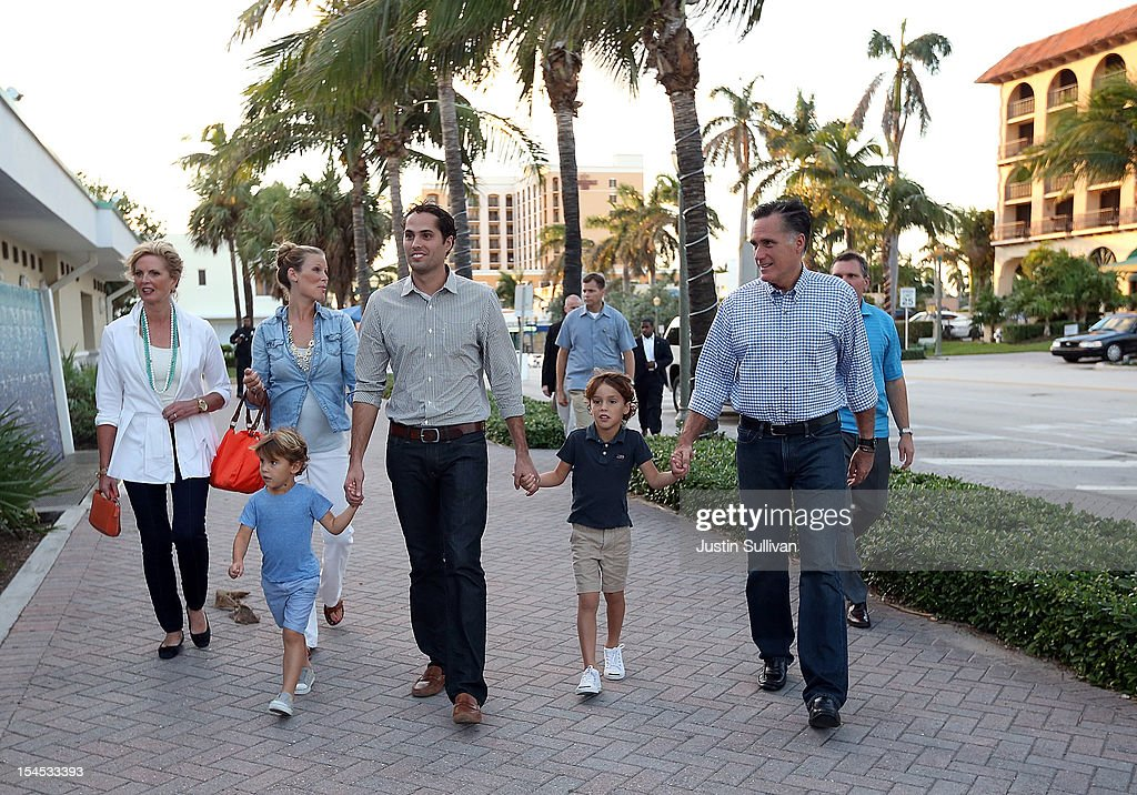 <a gi-track='captionPersonalityLinkClicked' href=/galleries/search?phrase=Ann+Romney&family=editorial&specificpeople=868004 ng-click='$event.stopPropagation()'>Ann Romney</a>, Mary Romney, Miles Romney, <a gi-track='captionPersonalityLinkClicked' href=/galleries/search?phrase=Craig+Romney&family=editorial&specificpeople=4453864 ng-click='$event.stopPropagation()'>Craig Romney</a>, Parker Romney and Republican presidential candidate, former Massachusetts Gov. <a gi-track='captionPersonalityLinkClicked' href=/galleries/search?phrase=Mitt+Romney&family=editorial&specificpeople=207106 ng-click='$event.stopPropagation()'>Mitt Romney</a>, walk to dinner at BurgerFi on October 21, 2012 in Delray Beach, Florida. <a gi-track='captionPersonalityLinkClicked' href=/galleries/search?phrase=Mitt+Romney&family=editorial&specificpeople=207106 ng-click='$event.stopPropagation()'>Mitt Romney</a> is spending the day doing debate prep a day before the third and final presidential debate with U.S. President Barack Obama.