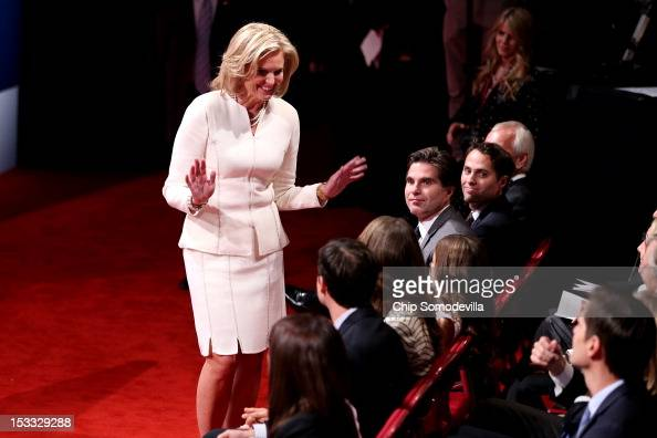 Ann Romney wife of Republican presidential candidate former Massachusetts Gov Mitt Romney arrives prior to the Presidential Debate at the University...