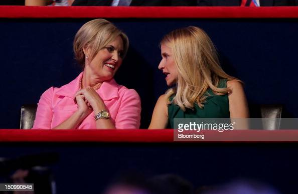 Ann Romney wife of Republican presidential candidate Mitt Romney left speaks with Janna Ryan wife of Republican vice presidential candidate Paul Ryan...