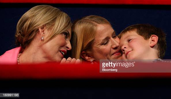 Ann Romney wife of Republican presidential candidate Mitt Romney left sits with Janna Ryan wife of Republican vice presidential candidate Paul Ryan...