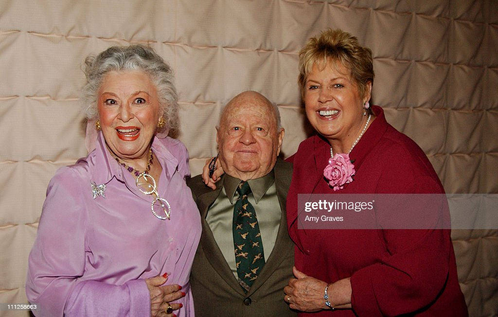 Ann Rutherford, Mickey and Jan Rooney during Pacific Pioneer Broadcasters Luncheon Honoring Mickey Rooney at Sportsmen's Lodge in Studio City, California, United States.