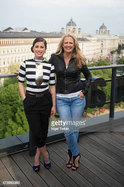 Ann Sophie Duermeyer of Germany and host Barbara Schoeneberger pose on a roofdeck ahead of the Eurovision Song Contest 2015 on May 19 2015 in Vienna...