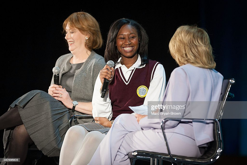 Ann Tisch, Founder and President, The Young Women's Leadership Schools, Nene Sy, Senior, The Young Women's Leadership School and <a gi-track='captionPersonalityLinkClicked' href=/galleries/search?phrase=Barbara+Walters&family=editorial&specificpeople=201871 ng-click='$event.stopPropagation()'>Barbara Walters</a> attends the 5th Annual Women In The World Summit at David H. Koch Theater, Lincoln Center on April 5, 2014 in New York City.