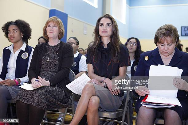 Ann Tisch Queen Rania of Jordan and Ann Veneman visit The Young Women's Leadership School East Harlem on September 21 2009 in New York City